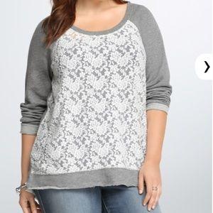 Torrid 1 (1x, 14-16) semi sheer lace sweatshirt